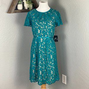 Adrianna Papell Teal Lace Dress